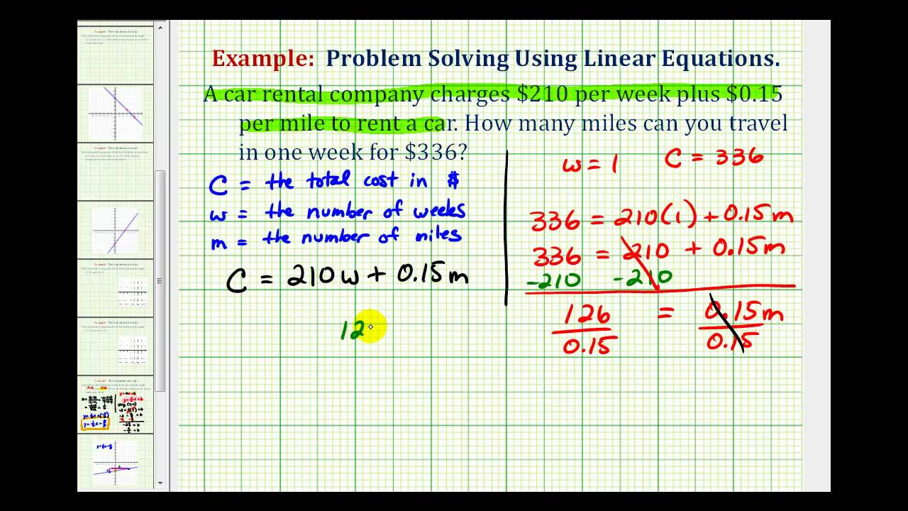 Ex: Linear Equation Application (Cost of a Rental Car ...