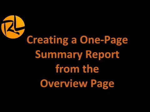 Realize Language- Creating a One-Page Summary Report from the Overview Page