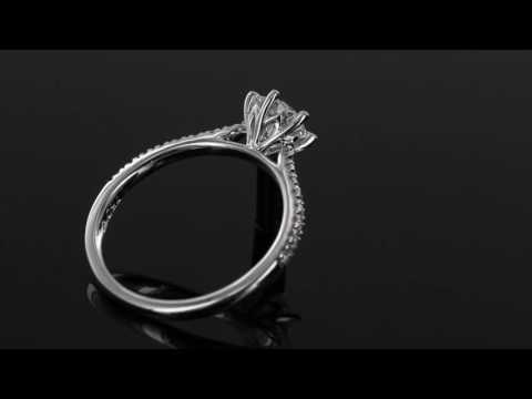 Browns Family Jewellers 18 Carat White Gold Diamond Shoulder Set Engagement Ring