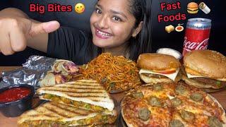 CHICKEN CHOWMEIN, CHEESY PIZZA, SHAWARMA, BURGERS, SANDWICH | BIG BITES MUKBANG |FOOD EATING VIDEOS