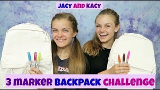 3 Marker Backpack Challenge ~ Fun Back to School DIY ~ Jacy and Kacy