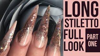 Long Stiletto Glitter Nails - Full Look - Hairdresser Nail Design Part 1