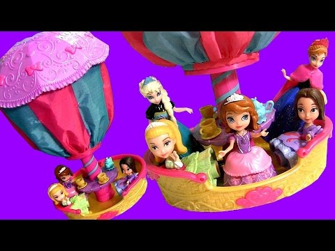 Sofia the First Balloon Tea Party 2-in-1 Playset with Disney Frozen Princess Anna Elsa of Arendelle