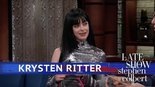 Krysten Ritter Teaches Stephen How To Knit (Or Tries