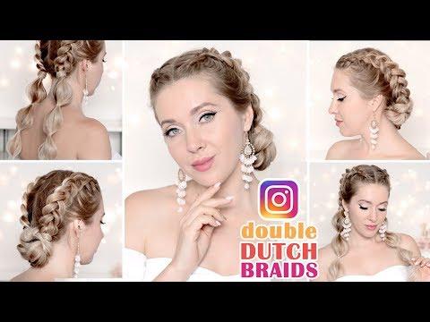 Summer hairstyles: dutch braids, bubble ponytail bun hair tutorial
