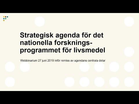 Webbinarium: Strategisk agenda för det nationella forskningsprogrammet för livsmedel