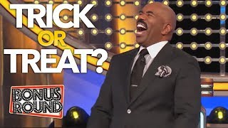 TRICK OR TREAT! Steve Harvey Asks The Scary Questions On Family Feud USA!