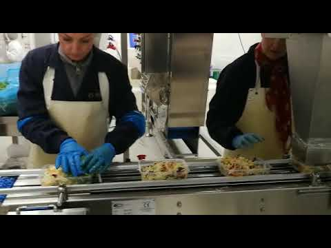 Riempimento lineare insalata in vaschetta/Conveyors and filling hopper
