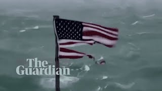 Hurricane Florence: timelapse video shows strong winds shearing an American flag