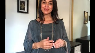 The Pinks Are Coming & Styling The Charcoal Silk Roma Top - 10 Way Necklace - Maria Nicola