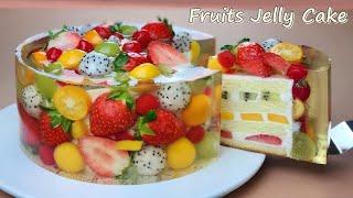 컵 계량 / 과일 젤리 치즈케이크 /Amazing cake / Beautiful Fruit Jelly Cheesecake Recipe / Vanilla Sponge Cake