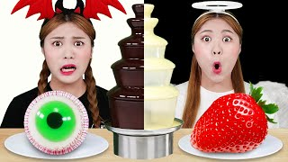 Black VS White Color Chocolate Fondue Challenge 하이유의 흰색 검정색 초콜릿 퐁듀 챌린지 | HIU 하이유