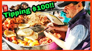 100K Subs Celebration!!  Mexican Street Food - Tipping $100 dollars in Mexico To Favorite Taco Stand