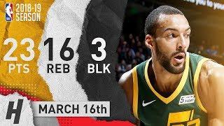Rudy Gobert Full Highlights Jazz vs Nets 2019.03.16 - 23 Pts, 16 Reb, 3 Blocks!