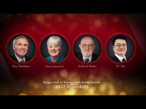 The Rutgers University Alumni Association will induct four extraordinary honorees into the Rutgers Hall of Distinguished Alumni on Saturday, May 6, 2017. The 30th annual awards ceremony will commemorate these Rutgers graduates and their accomplishments in philanthropy and economic development, neurological and genetic research, marine construction and tunneling, and digital media and technology.