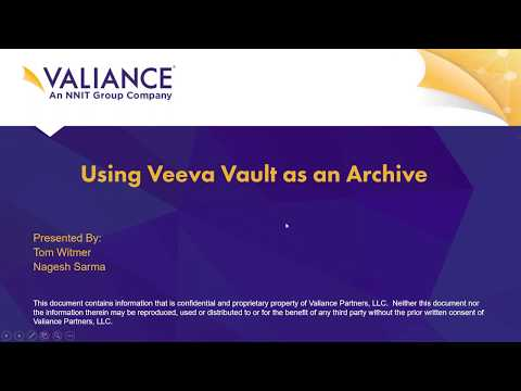 Webinar: Using Veeva Vault as an archive for your legacy systems