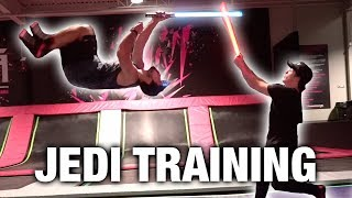 STAR WARS TRAINING AT TRAMPOLINE PARK (INSANE LIGHTSABER FLIPS)