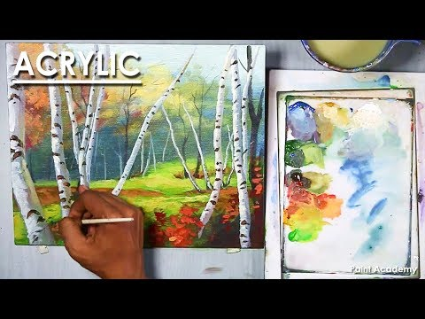 Acrylic Painting : Birch Forest | step by step
