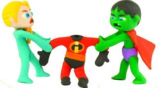 SUPERHERO BABIES WEAR THE INCREDIBLES SUITS ❤ SUPERHERO PLAY DOH CARTOONS FOR KIDS
