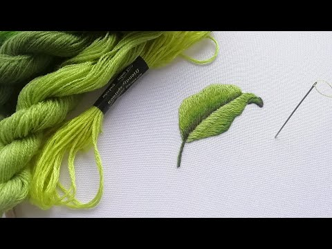 Embroidery of a leaf | long & short stitches | in detail
