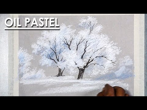 How to Draw Snowy Winter Trees in Oil Pastel