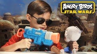 HAN SOLO LAUNCHER GUN - Angry Birds Star Wars Toy Koosh - TOTAL DESTRUCTION!!!