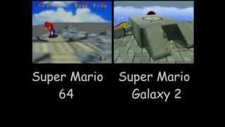 Whomp's Fortress/Throwback Galaxy Side-by-Side Comparison (64/Wii)