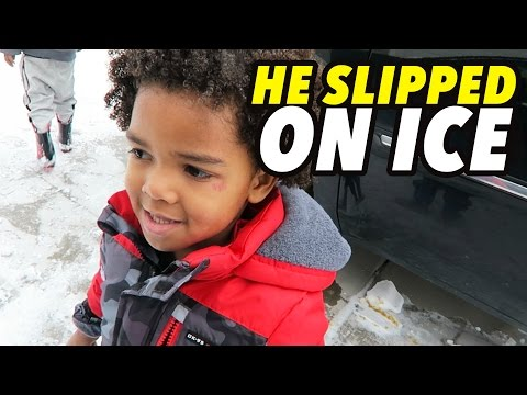 HE SLIPPED ON ICE!