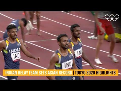 Indian relay team set Asian record- Tokyo 2020 Highlights