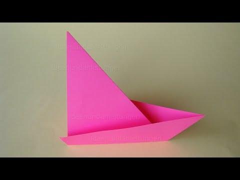 Origami Boot basteln mit Kindern - Einfaches Origami Segelboot falten mit Papier - Bastelideen
