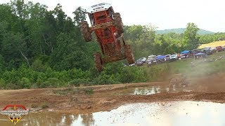 THE MOST INSANE MEGA TRUCK AIR AND CRASH AT WEST GEORGIA MUD PARK EVER! RANDY PRIEST MUD STICK