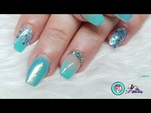 Mermaid Vibes Nails - Acrylic Redesign - Glitter Embedding - Chrome