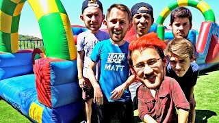 BOUNCE HOUSE OBSTACLE COURSE!! ft. Markiplier and Kids with Problems