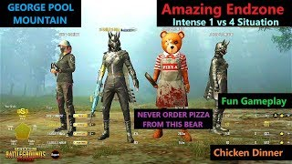 """[Hindi] PUBG Mobile   Amazing """"1 Vs 4"""" Situation Last Squad Alive In George Pool Mountain"""