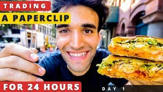 TRADING a PAPERCLIP for 24 HOURS in NYC (Day #1)!