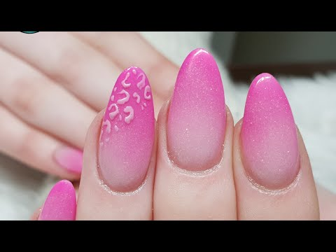 Pink Ombre Acrylic Nails with Gel Art Leopard Print