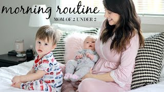 MORNING ROUTINE WITH A NEWBORN! Mom of 2 under 2 edition | Grace for the day
