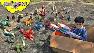 DINOSAURS vs. TODDLER: Nerf War Part 2 | Skyheart and Daddy on the run from dinosaur toys for kids