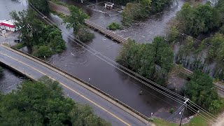 Drone footage of flooding in Lumberton, NC