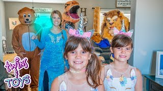 Kate and Lilly Play Hide and Seek with Elsa, T-Rex, Beast, and Giant Teddy Bear!