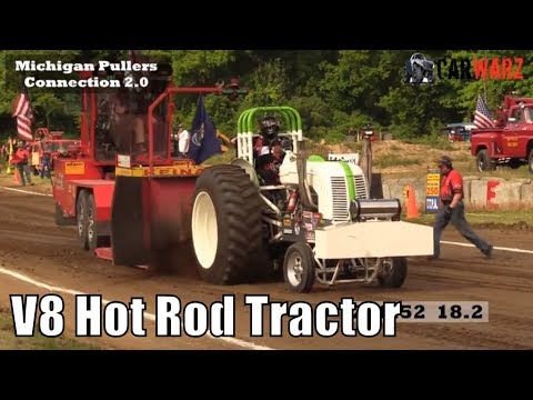 V8 Hot Rod Tractor Class At TTPA Tractor Pulls In Mayville MI 2018