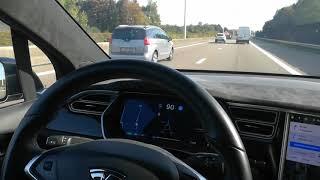 Demonstrating new 9.0 Tesla Autopilot Navigate in Autopilot feature