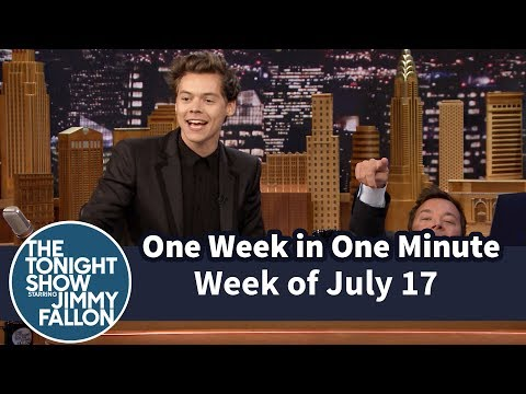 One Week in One Minute: Week of July 17 A 60-second supercut of the best moments from The Tonight Show the week of June 17, 2017.  Subscribe NOW to The Tonight Show Starring Jimmy Fallon: http://bit.ly/1nwT1aN  Watch The Tonight Show Starring Jimmy Fallon Weeknights 11:35/10:35c Get more Jimmy Fallon:  Follow Jimmy: http://Twitter.com/JimmyFallon Like Jimmy: https://Facebook.com/JimmyFallon  Get more The Tonight Show Starring Jimmy Fallon:  Follow The Tonight Show: http://Twitter.com/FallonTonight Like The Tonight Show: https://Facebook.com/FallonTonight The Tonight Show Tumblr: http://fallontonight.tumblr.com/  Get more NBC:  NBC YouTube: http://bit.ly/1dM1qBH Like NBC: http://Facebook.com/NBC Follow NBC: http://Twitter.com/NBC NBC Tumblr: http://nbctv.tumblr.com/ NBC Google+: https://plus.google.com/+NBC/posts  The Tonight Show Starring Jimmy Fallon features hilarious highlights from the show including: comedy sketches, music parodies, celebrity interviews, ridiculous games, and, of course, Jimmy