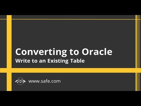 Converting to Oracle -  Write to an Existing Table