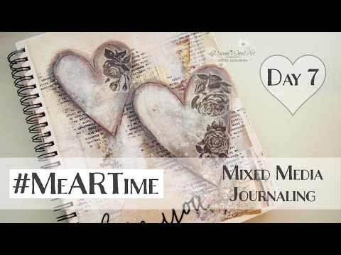 Mixed Media Art Journal Page with Hearts Day #7♡ Maremi's Small Art ♡