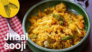 Jhal suji—savoury semolina with seasonal vegetables—Bengali tiffin or breakfast recipe