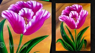 Step by Step acrylic painting on canvas for beginners | tulip flower painting tutorial