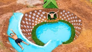 Build The Most Beautiful Swimming Pool Water Slide Around Secret Underground House