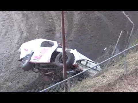 IMCA Modified Crashes into Catch Fence - Santa Maria
