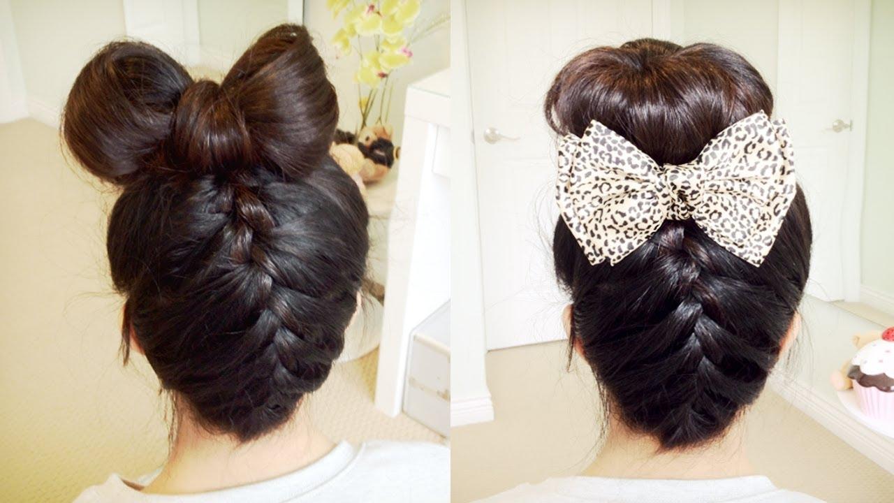 Hair Bow Styles: Upside Down French Braid Hair Bow + Sock Bun Updo Hair